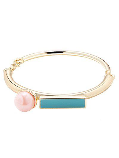Artificial Pearl Rectangle Bracelet - GOLDEN