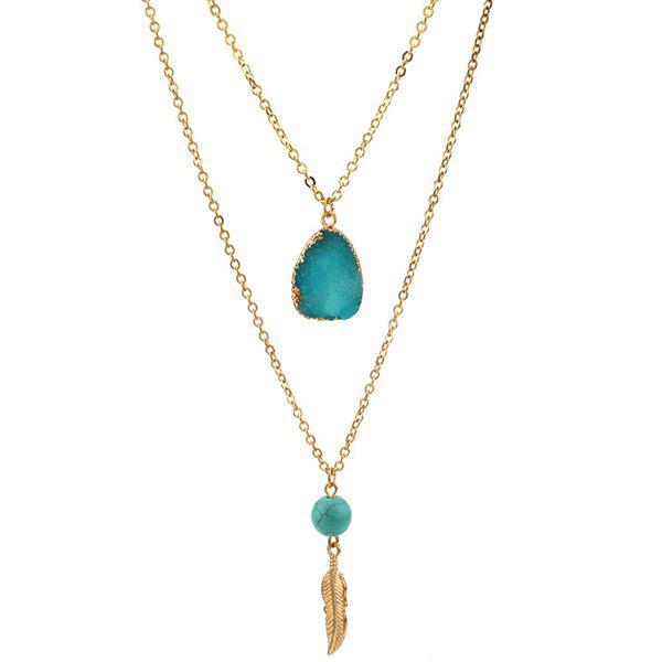 Layered Teardrop Faux Crystal Bead Pendant Necklace - LAKE BLUE