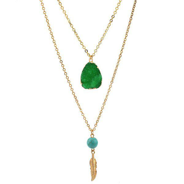 Layered Teardrop Faux Crystal Bead Pendant Necklace - EMERALD