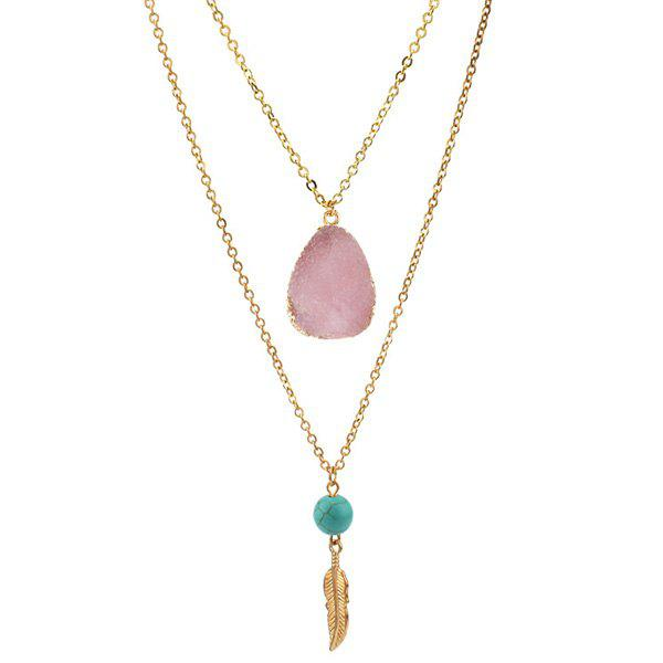 Layered Teardrop Faux Crystal Bead Pendant Necklace - LIGHT PINK