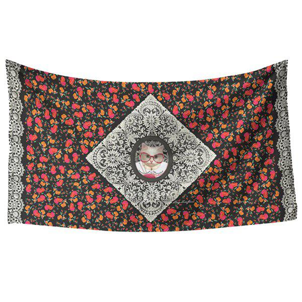 Fresh Style Vivid Persian Cat and Flower Pattern Women's Rectangle Scarf - RED