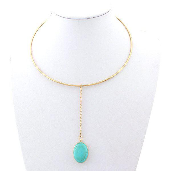 Retro Faux Turquoise Oval Drop Gold Plated Adjustable Torque For Women