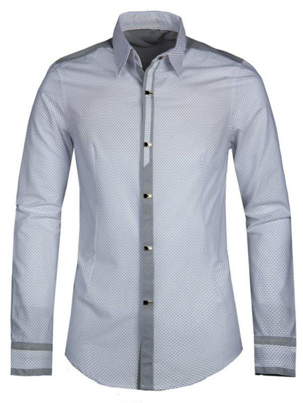 Polka Dot Splicing Turn-down Collar Men's Long Sleeve Shirt - WHITE 2XL