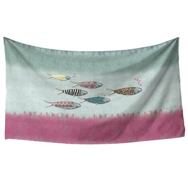 Fresh Style Handpainted Creative Fish Pattern Women's Rectangle Scarf - GRAY