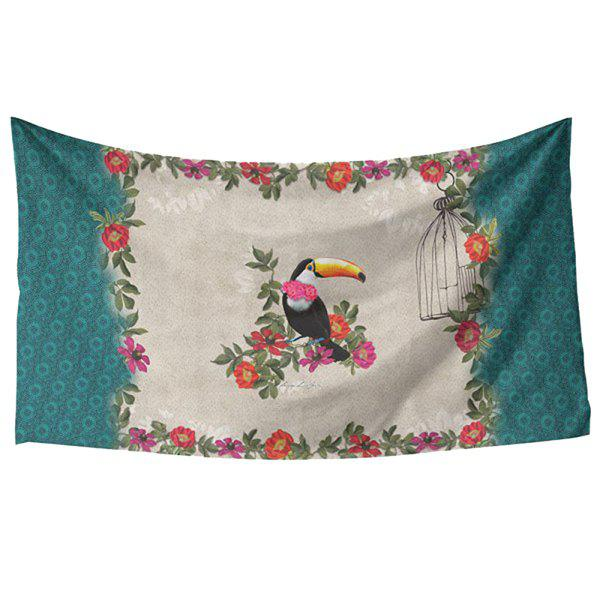Fresh Style Vivid Creative Toucan and Flower Pattern Women's Rectangle Scarf - BLACKISH GREEN