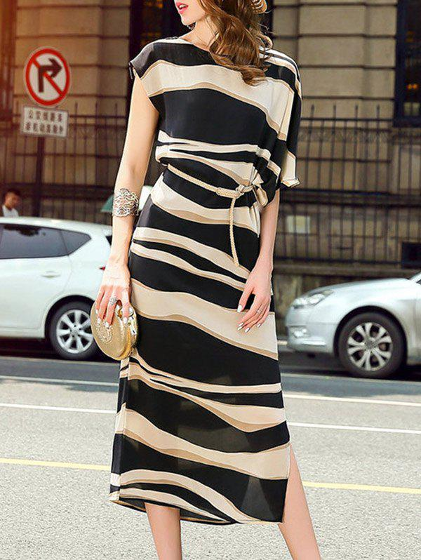 Brief Women's Striped Asymmetric Sleeves Midi Dress - STRIPE 2XL