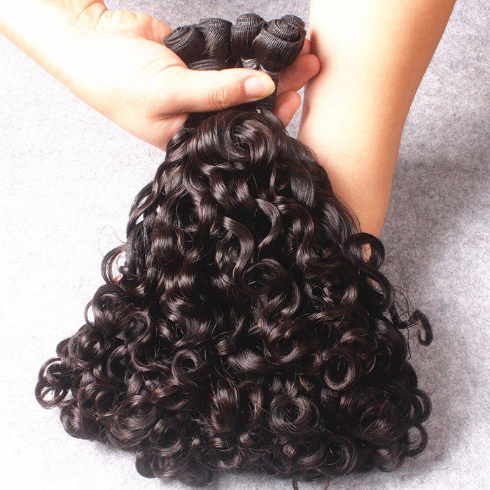 Stylish 1 Pcs Black 7A Virgin Natural Curly Funmi Women's Brazilian Hair Weave - BLACK 12INCH