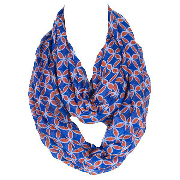 Retro Style Ancient Coin Pattern Women's Scarf - BLUE