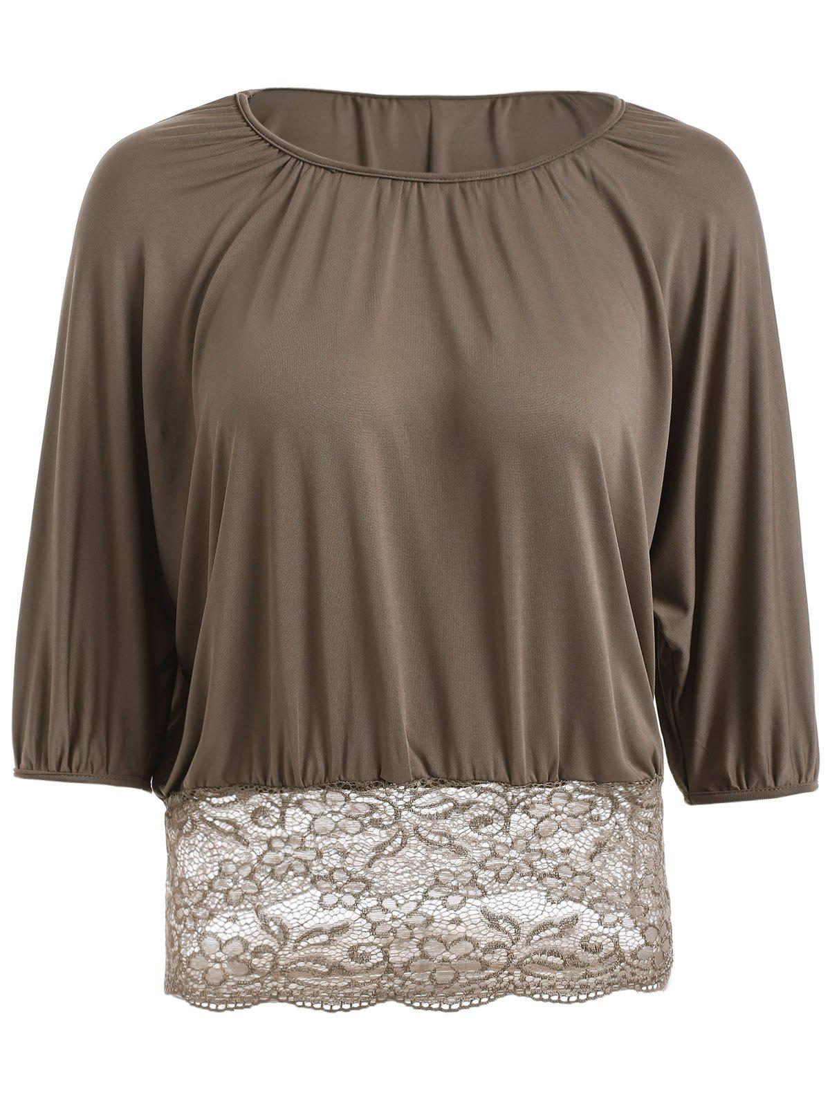 Batwing Sleeves Lace Spliced Waisted Blouse - KHAKI 2XL