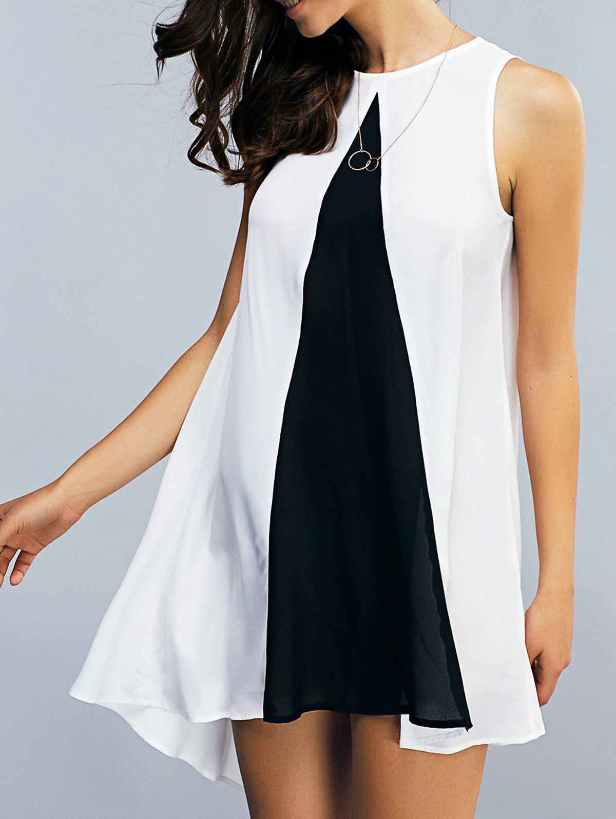 Color Block Asymmetrical Chiffon Tank Dress - WHITE/BLACK S