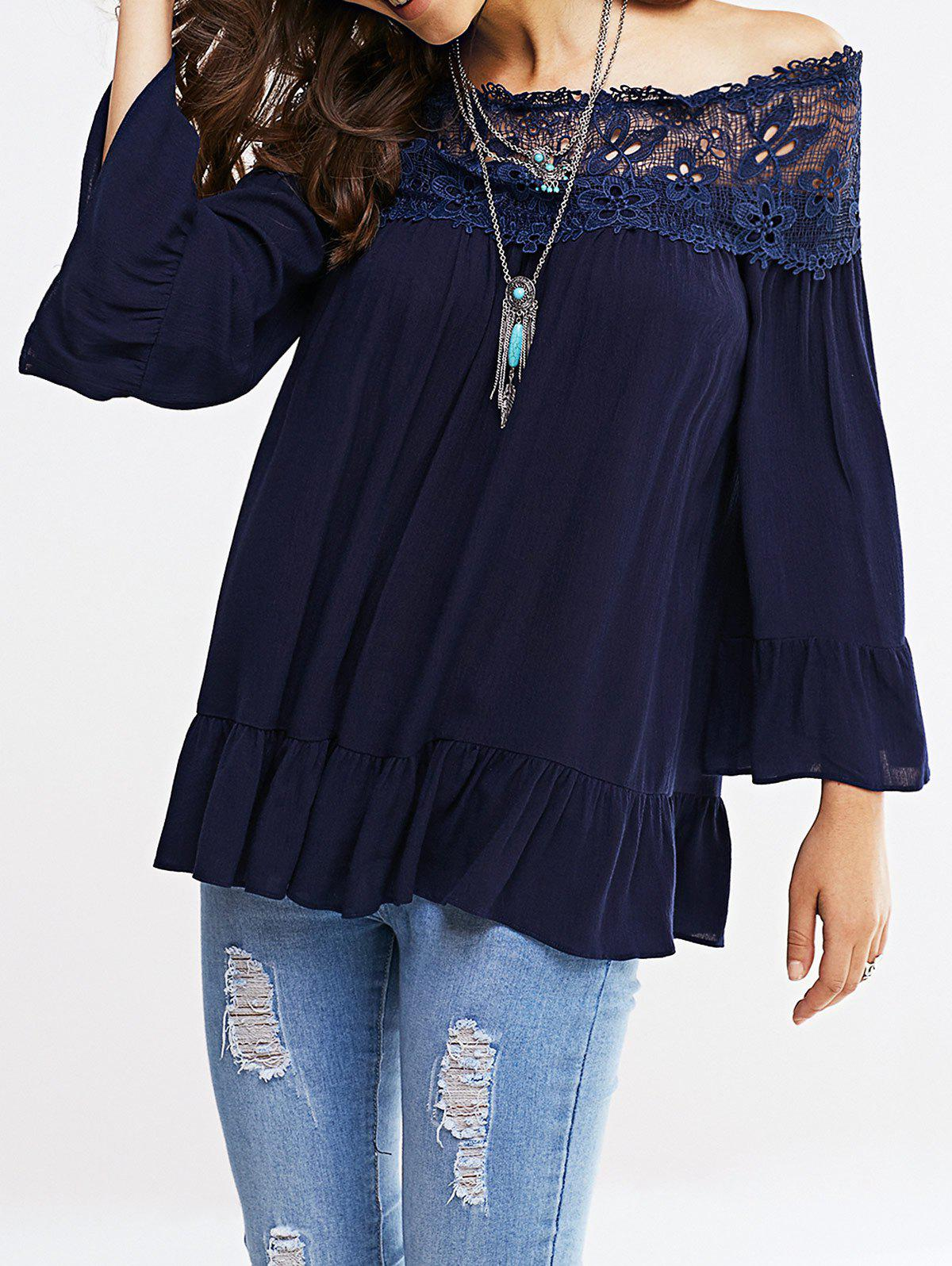 Off-The-Shoulder Bell Sleeve Lace Blouse