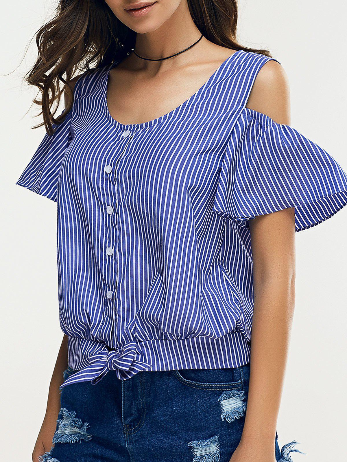 Cold Shoulder Single Breasted Striped Blouse - AZURE XL