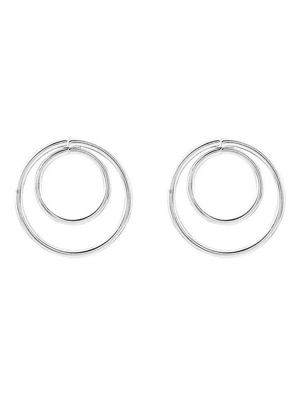 Circles Minimalist Design Earrings - SILVER