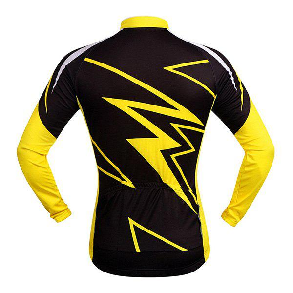 Hot Sale Spring Outdoor Long Sleeves Lightning Pattern Cycling Jersey - YELLOW/BLACK S