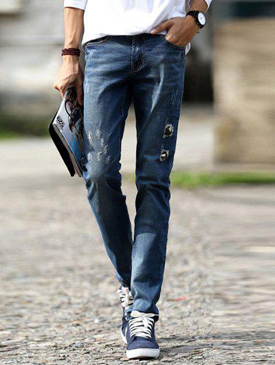 Distressed Design Mid-Wash Slim-Fit Destroyed Jeans For Men ripped jeans men 2017 famous brand biker denim trousers slim fit vintage distressed jeans pants 100%cotton mens motorcycle jeans