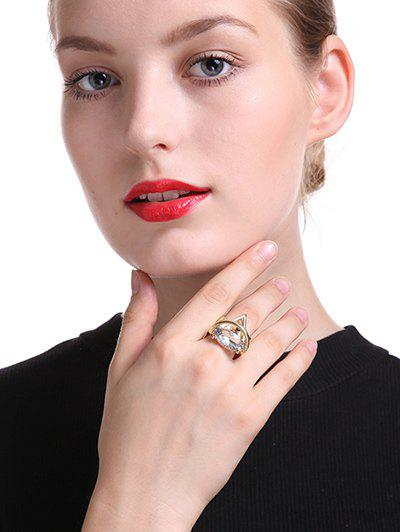 Vintage Rhinestone Oval Ring - GOLDEN ONE-SIZE