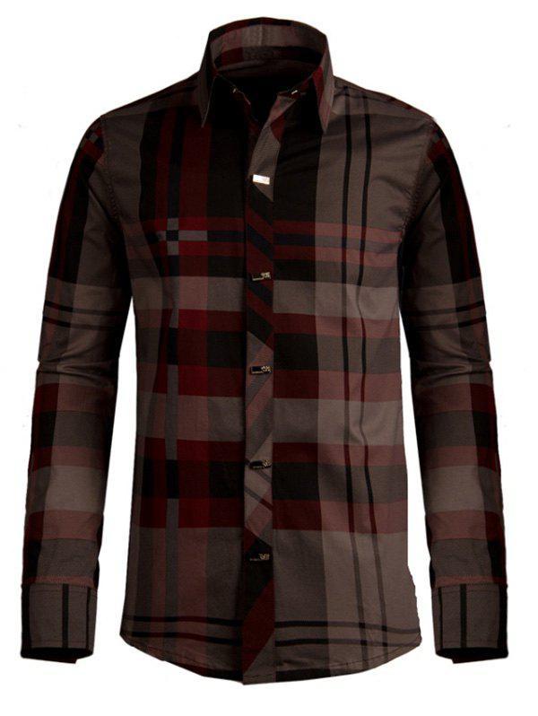 Plaid Snap Button Turn-down Collar Long Sleeve Men's Shirt - WINE RED 3XL