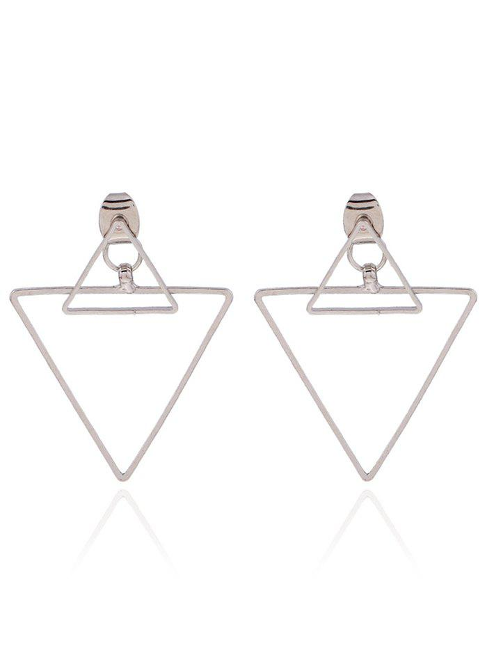 Punk Hollowed Triangle Ear Jackets - SILVER