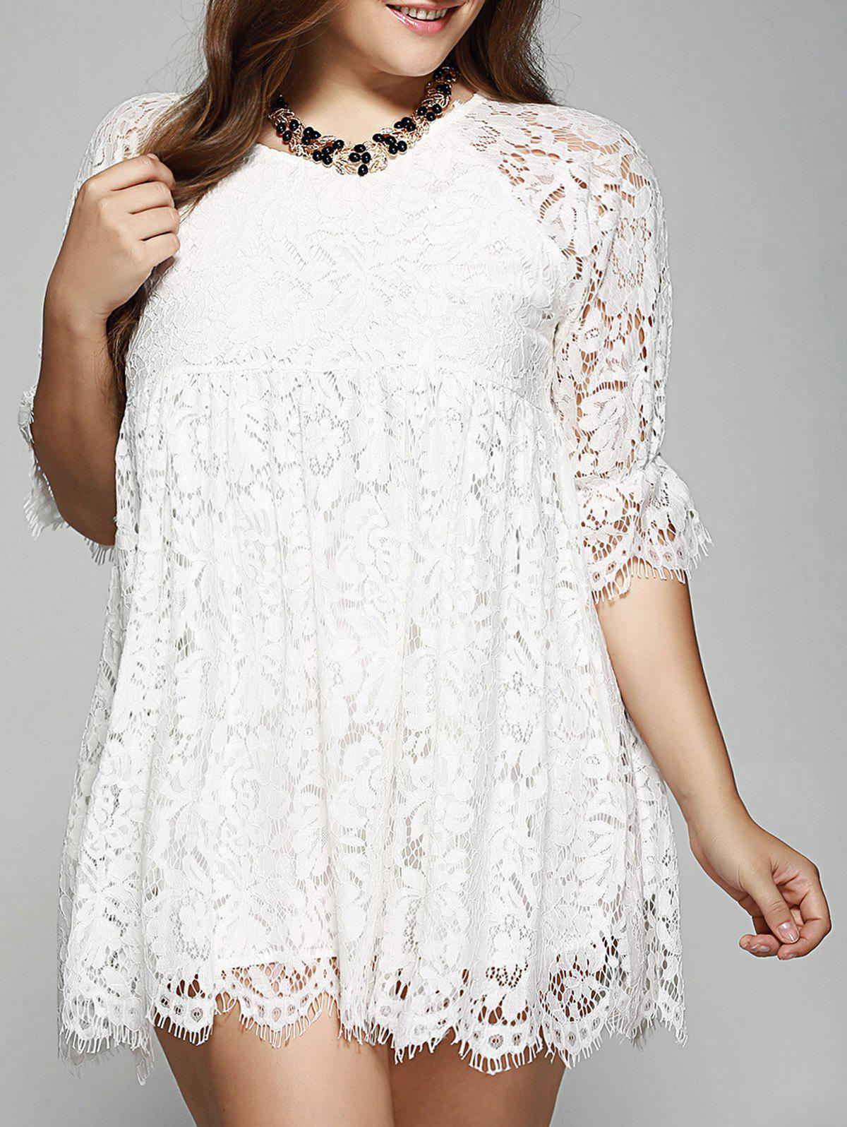 Oversized A-Line Scalloped Edge Lace Dress - WHITE 4XL