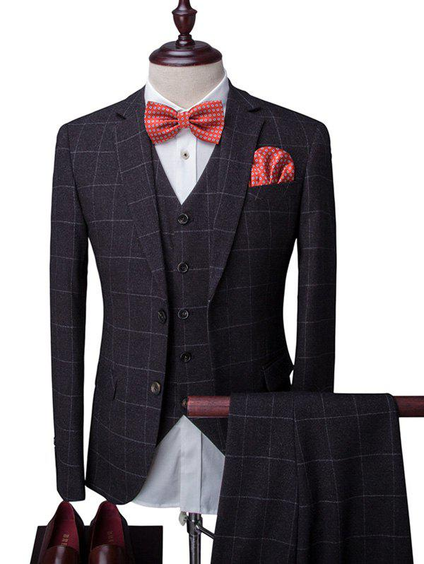 Plaid Single Breasted Long Sleeve Lapel Men's Three-Piece Suit ( Blazer + Waistcoat + Pants ) - BLACK 2XL