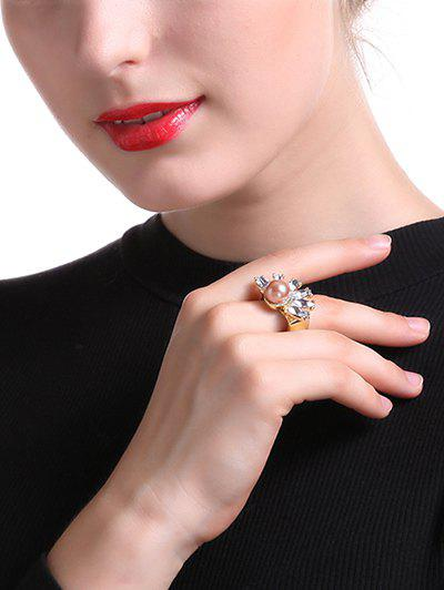 Fake Crystal Pearl Square Ring - GOLDEN ONE-SIZE