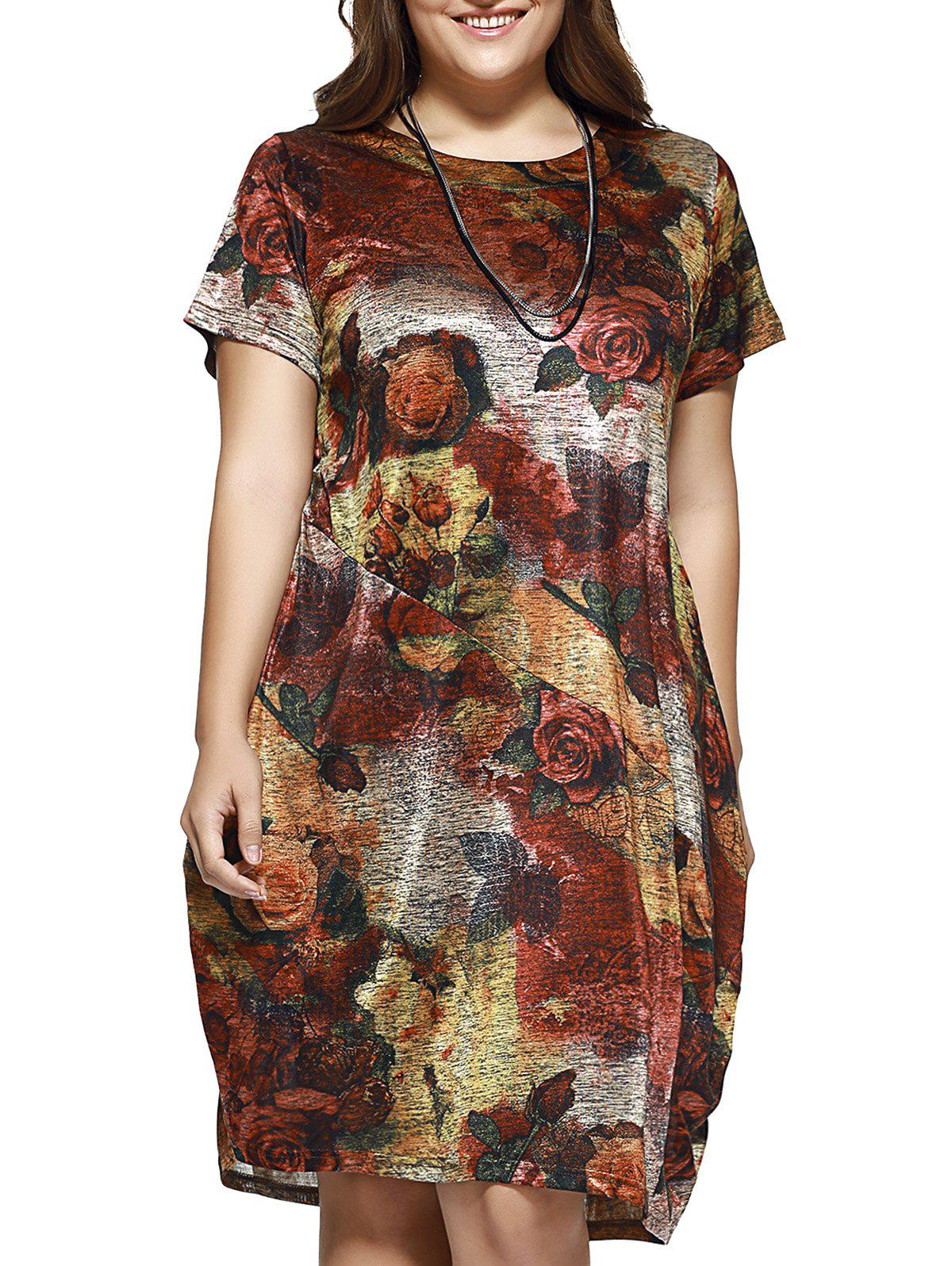Casual Plus Size Floral Print Baggy Dress - RED 4XL