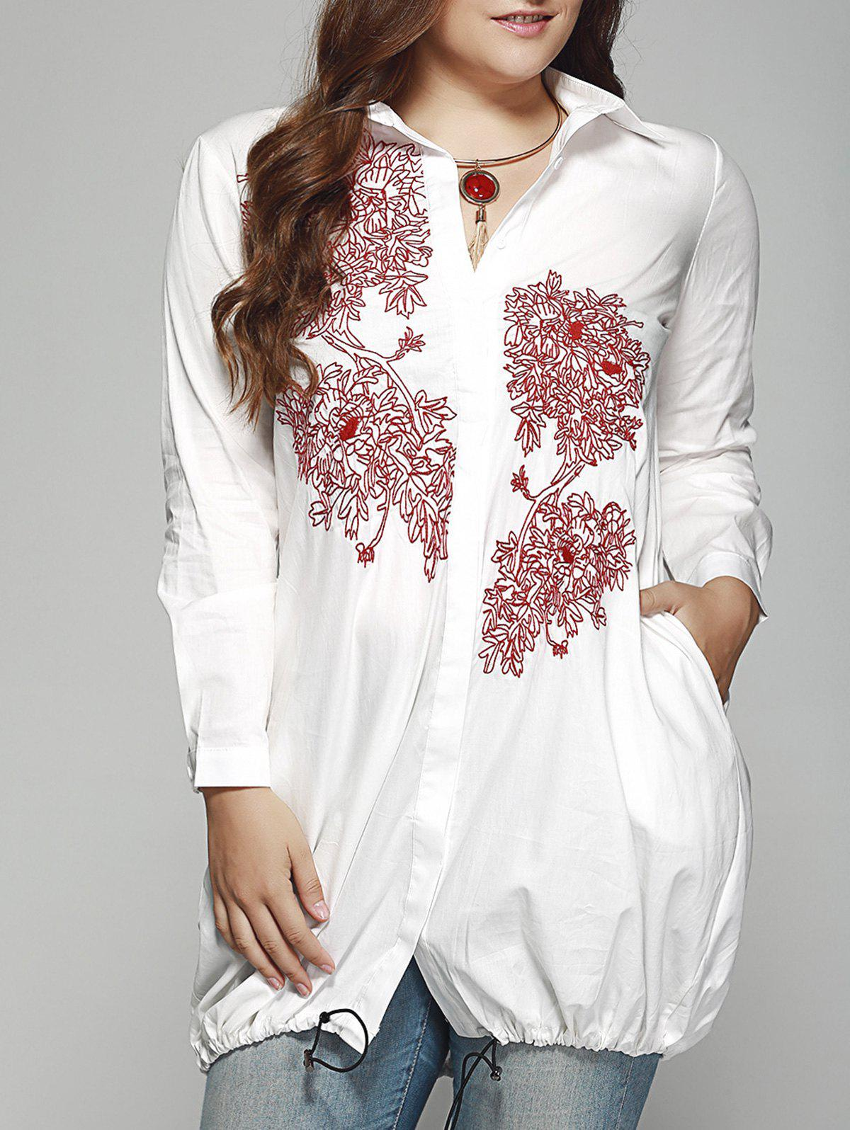 Ladylike Plus Size Embroidered Drawstring Hem Shirt - WHITE 4XL