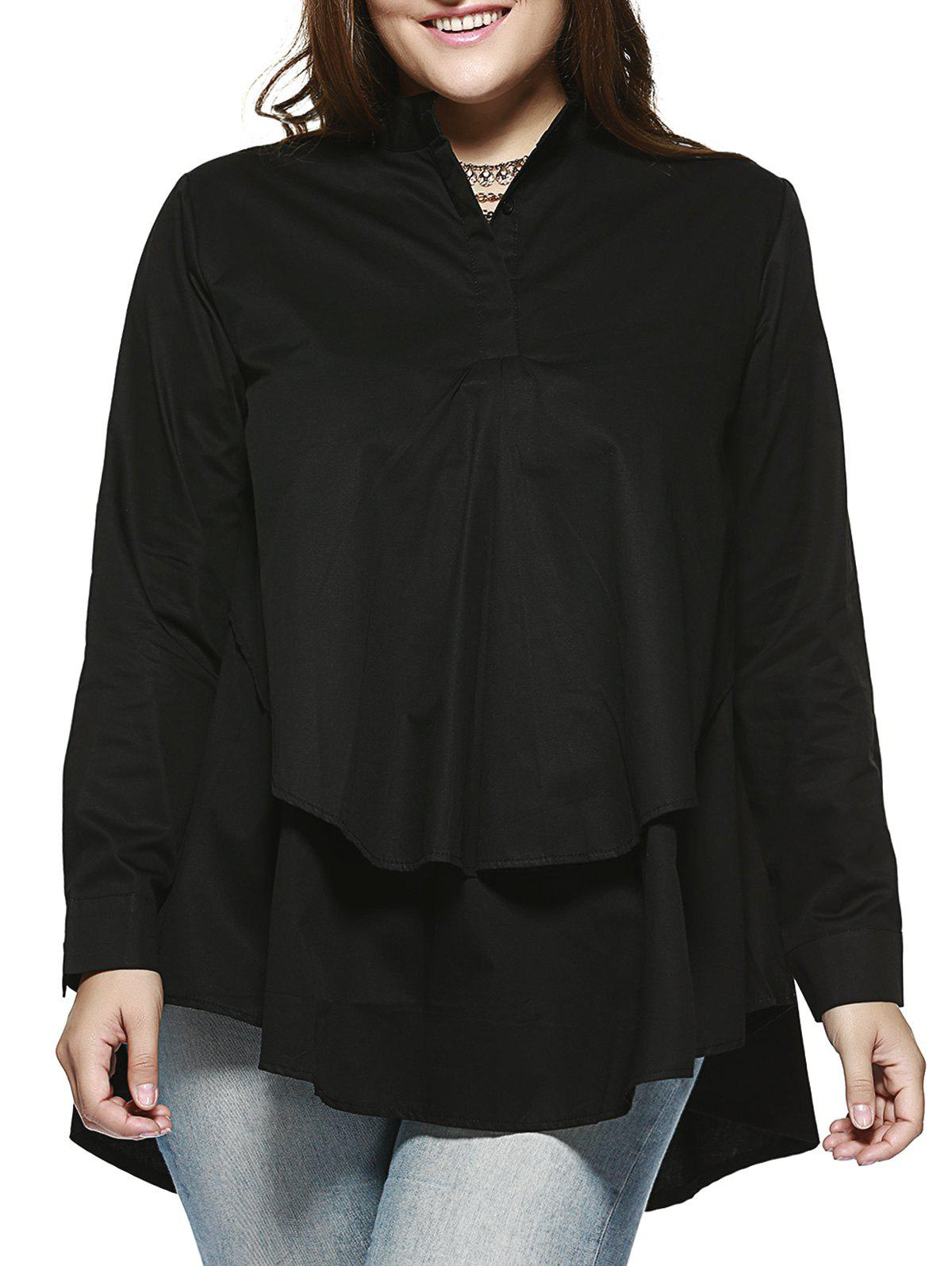 Chic Plus Size Double Layer Asymmetrical Shirt - BLACK 3XL