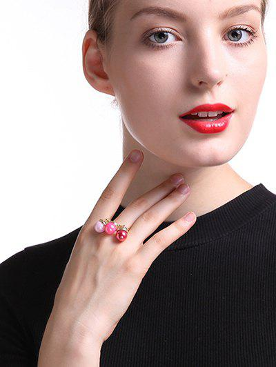 Faux Pearl Square Ring - GOLDEN ONE-SIZE