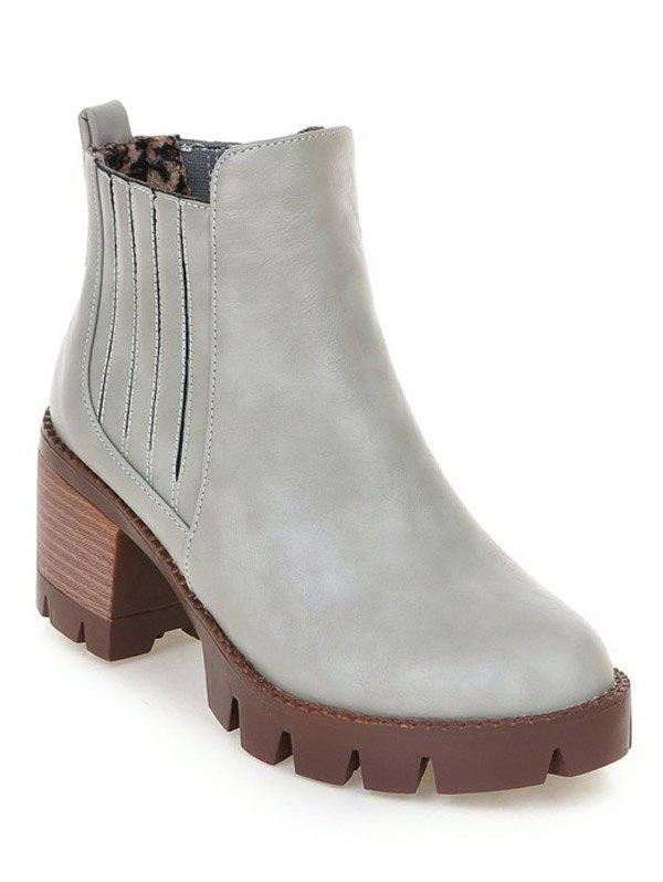 Fashionable Stitching and Elastic Band Design Women's Ankle Boots