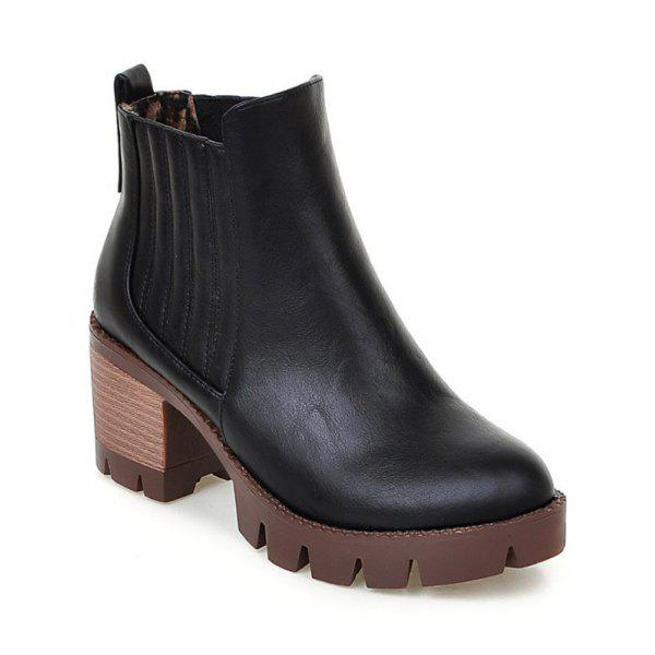 Fashionable Stitching and Elastic Band Design Womens Ankle BootsShoes<br><br><br>Size: 37<br>Color: BLACK