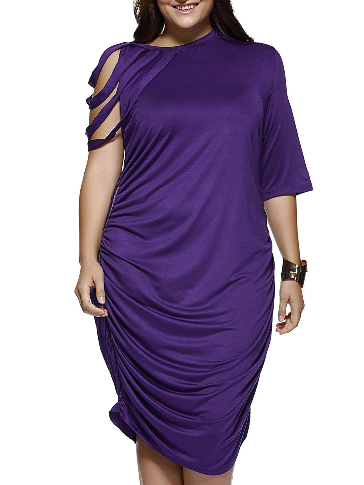 Elegant Strappy Sleeve Pure Color Baggy Dress - PURPLE 3XL