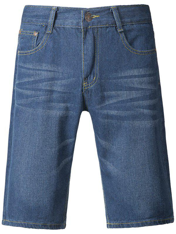 Brief Style Light-Wash Straight Jeans Shorts For Men - DENIM BLUE 38