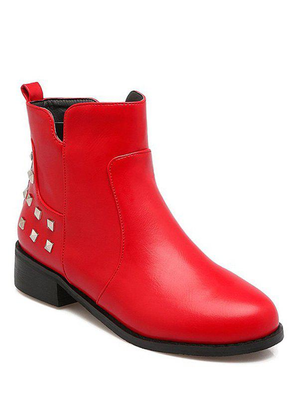 Trendy Zipper and Metal Rivets Design Womens Ankle BootsShoes<br><br><br>Size: 38<br>Color: RED