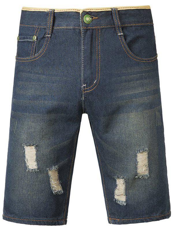 Fashion Dark-Wash Destroyed Jeans Shorts For Men