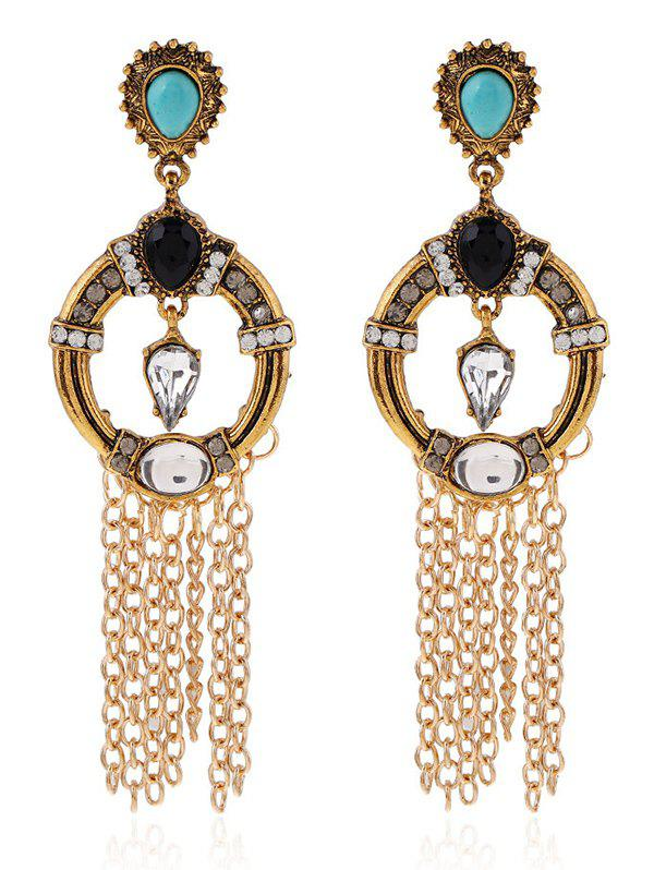 Vintage Rhinestone Fringe Drop Earrings - GOLDEN