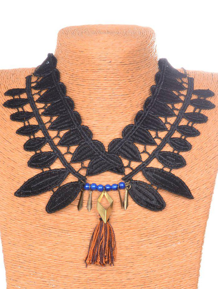 Vintage Leaf Tassel Necklace - BLACK