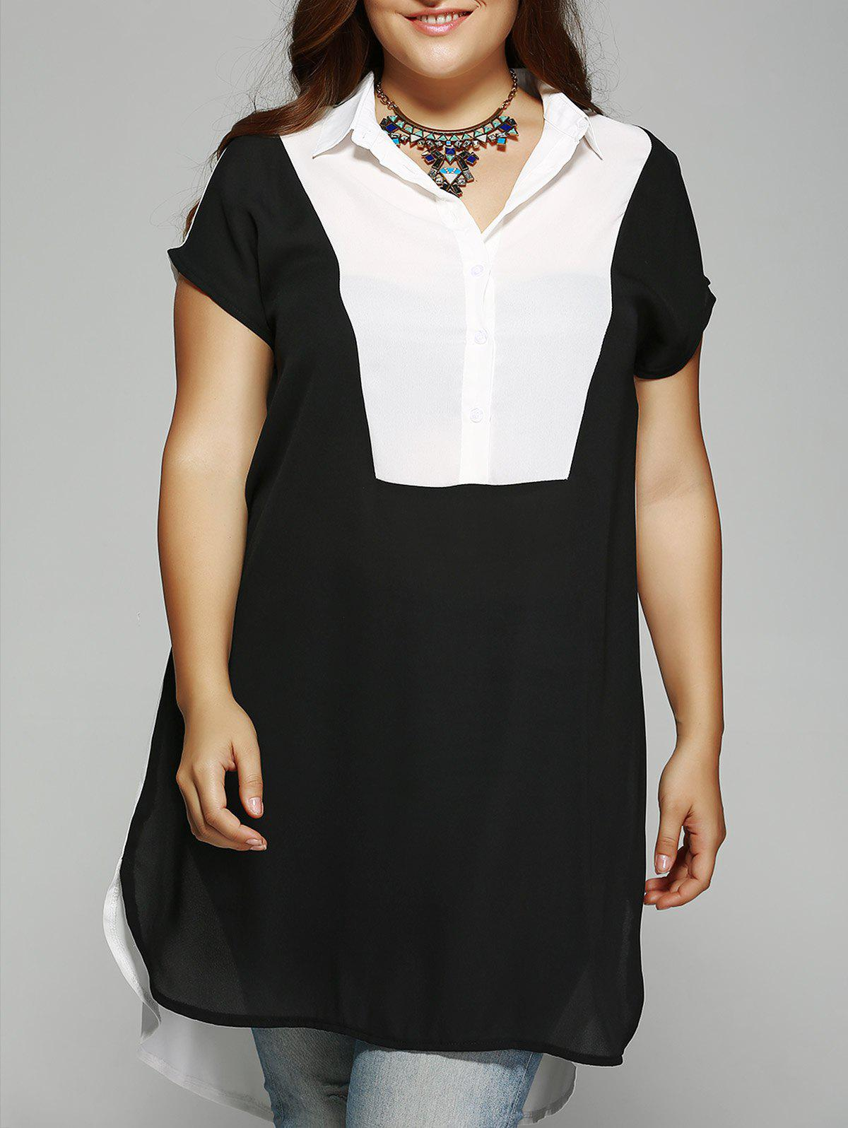 Plus Size High Low Hem Long Blouse - WHITE/BLACK 3XL