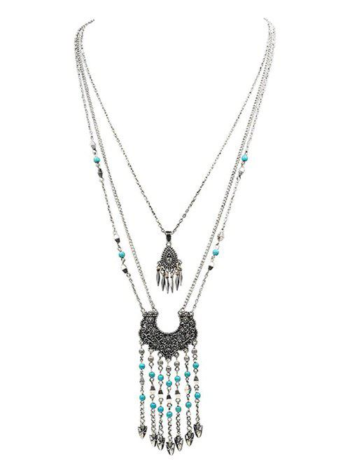 Ethnic Embossed Fringed Layered Necklace чайник scarlett чайник scarlett sc ek14e04 white blue