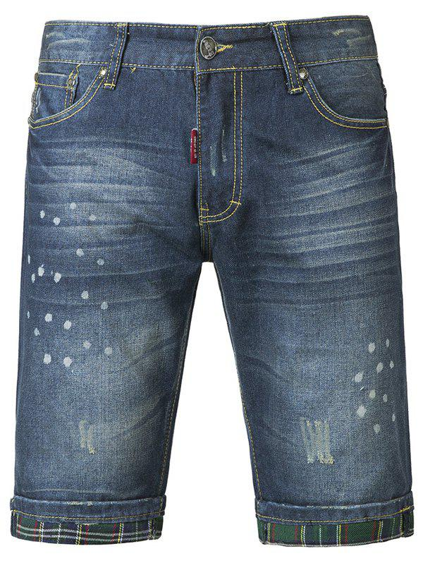 Chic Polka Dot Printed Mid-Wash Jeans Shorts For Men - DEEP BLUE 36