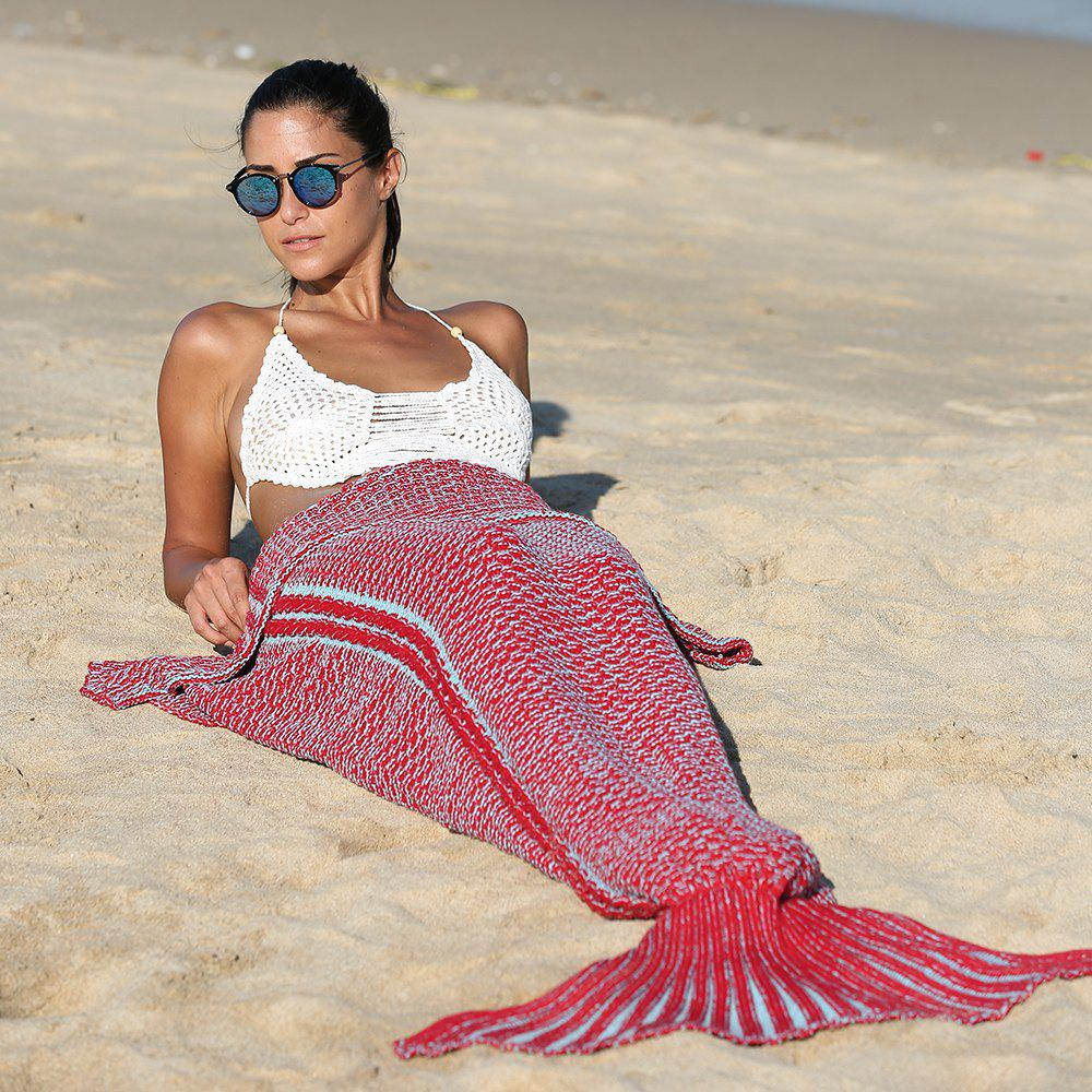 Fashionable Knitting Mermaid Tail Style Soft Blanket - RED