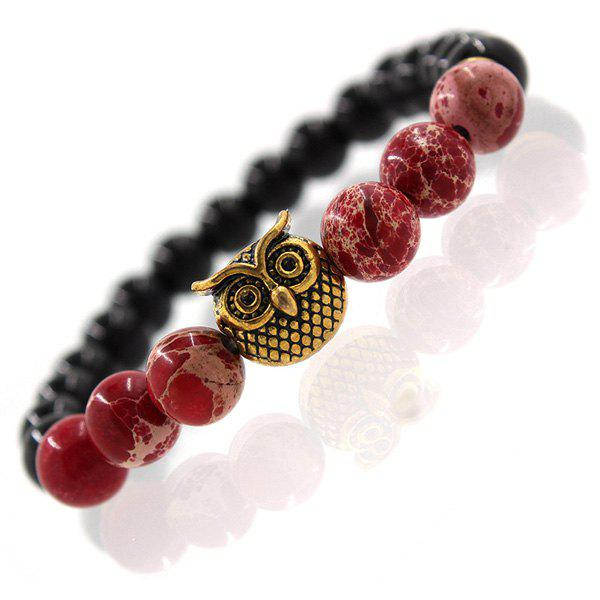 Retro Etched Owl Faux Agate Beads Bracelet For Men