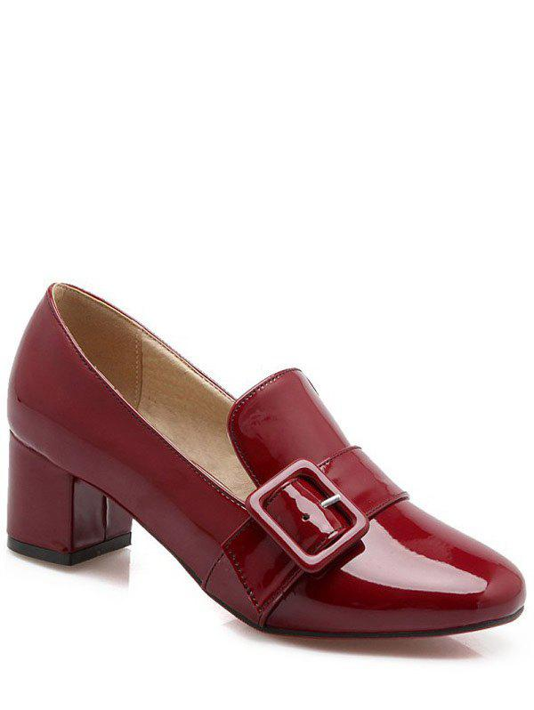 Fashion Patent Leather and Buckle Design Women's Pumps - WINE RED 39