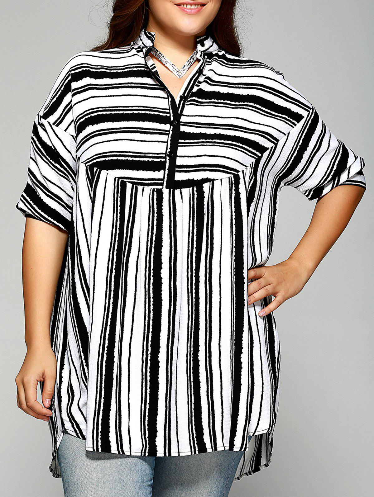 Trendy Plus Size Striped Batwing Sleeve Blouse - WHITE 4XL