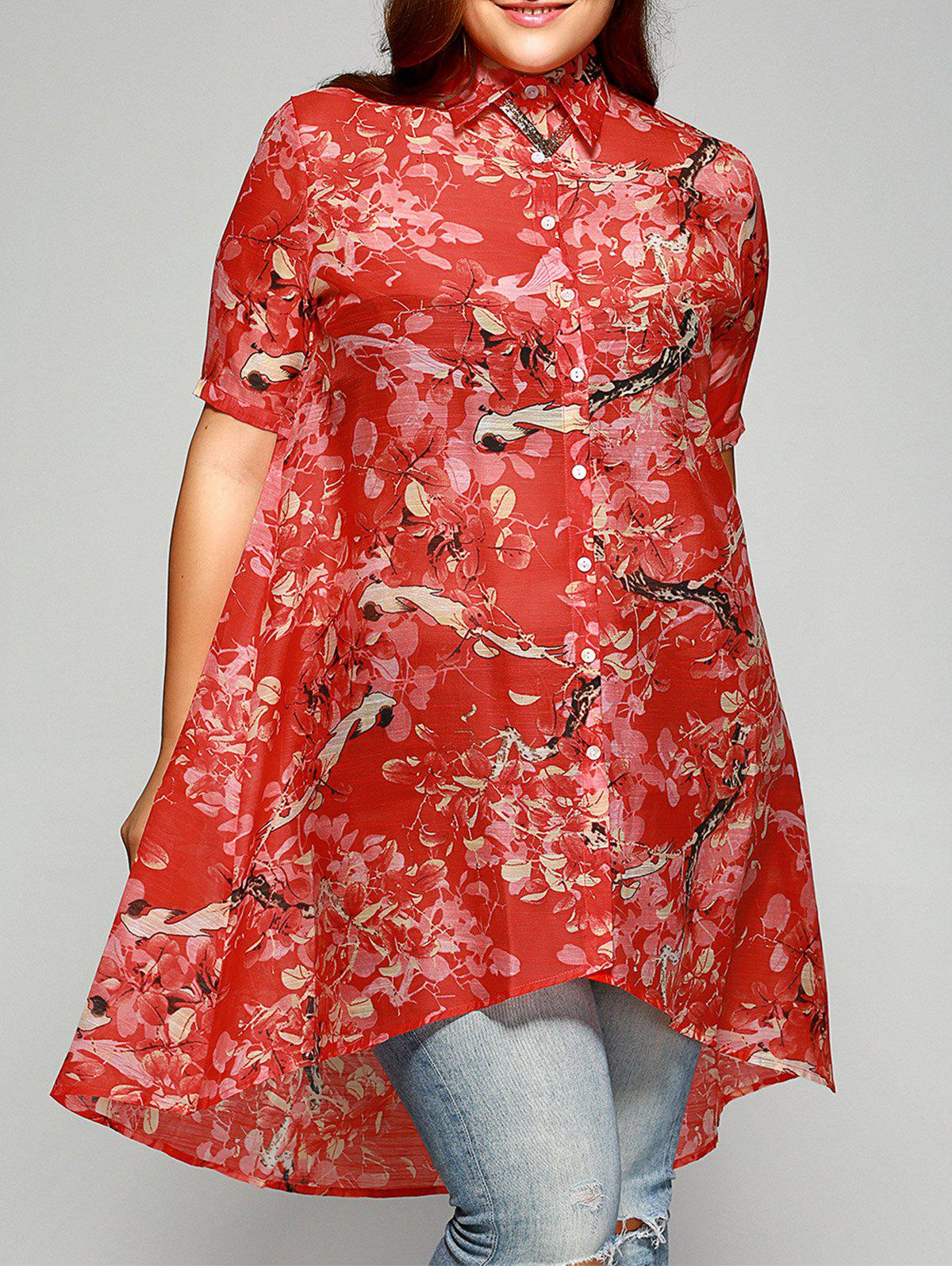 Sweet Plus Size Asymmetrical Floral Shirt - JACINTH 3XL