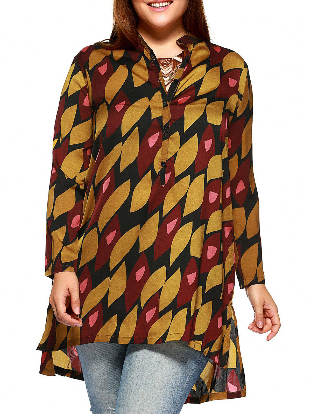 Chic Plus Size Side Slit Graphic Shirt - YELLOW 4XL