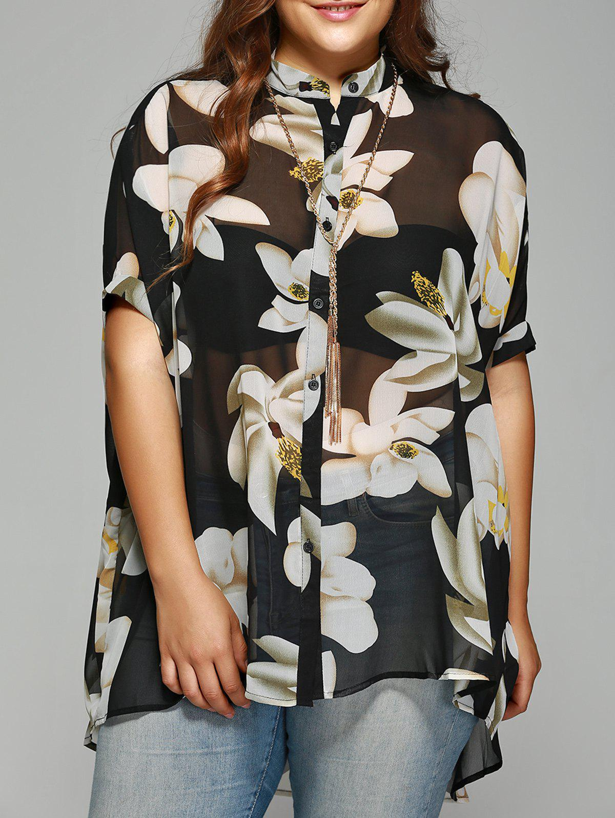 Chic Plus Size Batwing Sleeve Floral Shirt - BLACK 4XL