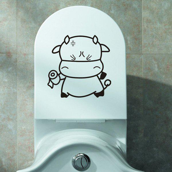 Lovely Cartoon Tissue Cattle Toilet Wall Stickers - BLACK