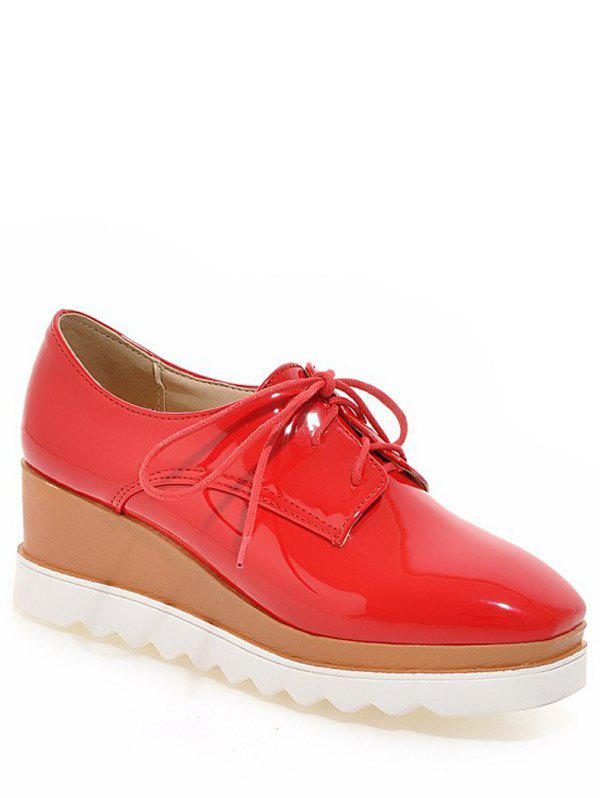 Trendy Square Toe and Tie Up Design Women's Wedge Shoes - RED 39