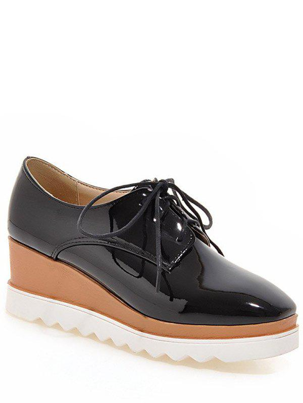 Trendy Square Toe and Tie Up Design Women's Wedge Shoes - BLACK 38